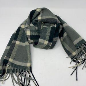 Burberry Gray plaid 100% cashmere scarf